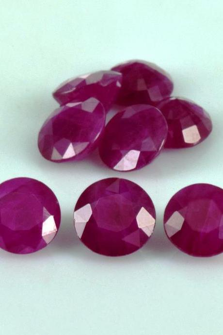 Natural Ruby 7mm 5 Pieces Lot Faceted Cut Round Red Pink Color Top Quality Loose Gemstone