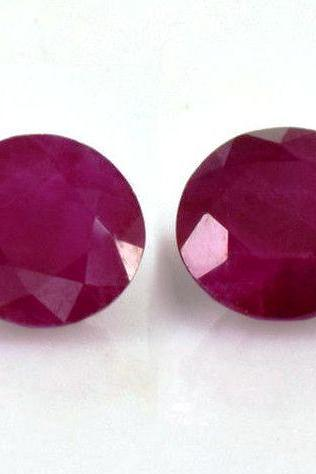 Natural Ruby 10mm 2 Pieces Faceted Cut Round Red Pink Color Top Quality Loose Gemstone
