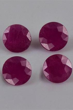 Natural Ruby 10mm 5 Pieces Lot Faceted Cut Round Red Pink Color Top Quality Loose Gemstone