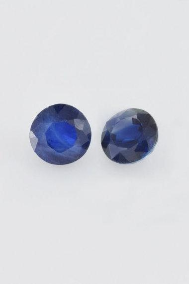 Natural Blue Sapphire 8mm 2 Pieces Faceted Cut Round Blue Color Top Quality Loose Gemstone