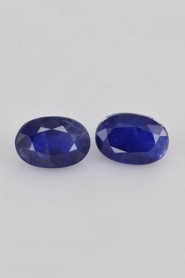 Natural Blue Sapphire 5x7mm 2 Pieces Faceted Cut Oval Blue Color Top Quality Loose Gemstone