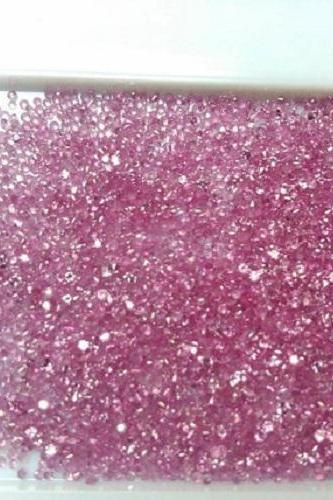 Natural Pink Sapphire 1mm 50 Pieces Lot Faceted Cut Round Pink Color Top Quality Loose Gemstone