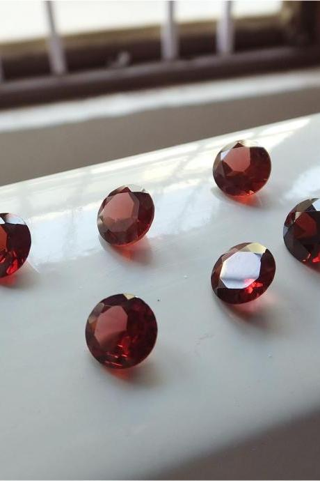Natural Red Garnet 6mm 25 Pieces Lot Faceted Cut Round Red Color Top Quality Loose Gemstone