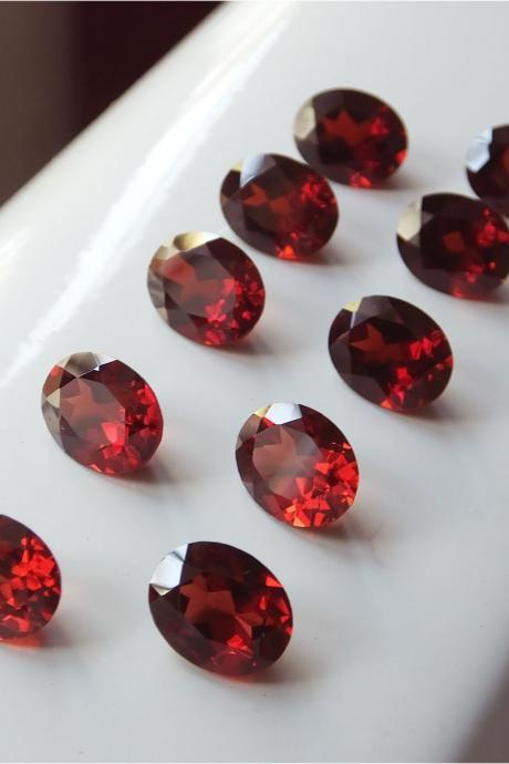 Natural Red Garnet 6x4mm 10 Pieces Lot Faceted Cut Oval Red Color Top Quality Loose Gemstone
