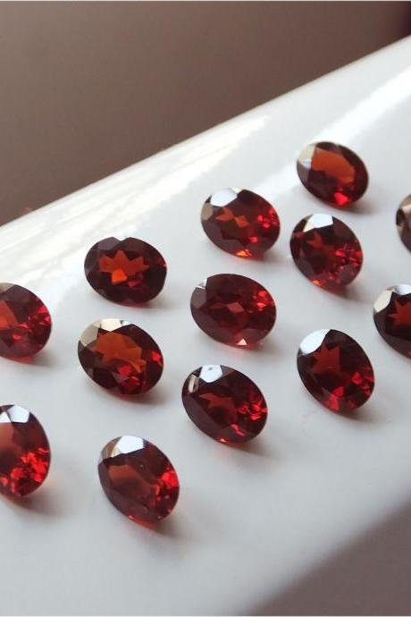 Natural Red Garnet 7x5mm 10 Pieces Lot Faceted Cut Oval Red Color Top Quality Loose Gemstone
