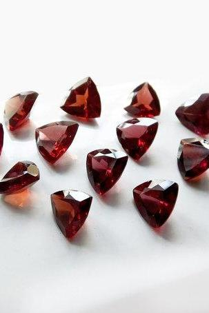 Natural Red Garnet 4mm 10 Pieces Lot Faceted Cut Trillion Red Color Top Quality Loose Gemstone