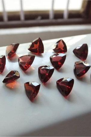Natural Red Garnet 8mm 50 Pieces Lot Faceted Cut Trillion Red Color Top Quality Loose Gemstone