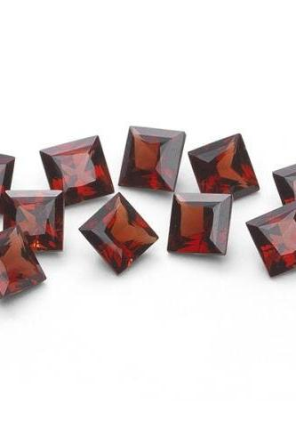 Natural Red Garnet 7mm 5 Pieces Lot Faceted Cut Square Red Color Top Quality Loose Gemstone