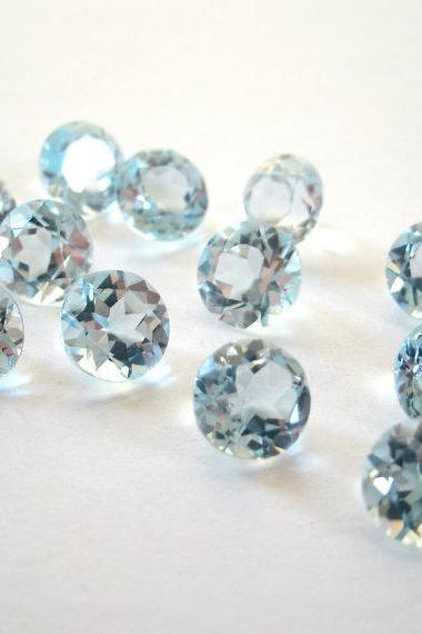 Natural Sky Blue Topaz 6mm 25 Pieces Lot Faceted Cut Round Blue Color - Natural Loose Gemstone