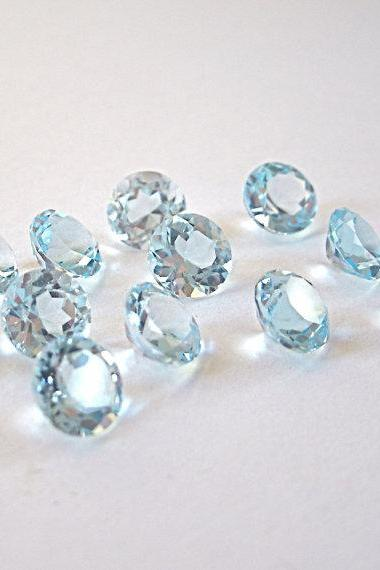 Natural Sky Blue Topaz 7mm 50 Pieces Lot Faceted Cut Round Blue Color - Natural Loose Gemstone