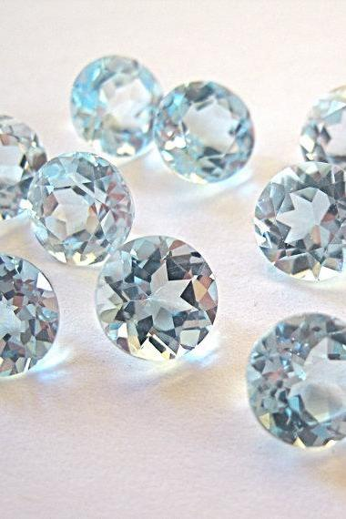 Natural Sky Blue Topaz 8mm 5 Pieces Lot Faceted Cut Round Blue Color - Natural Loose Gemstone