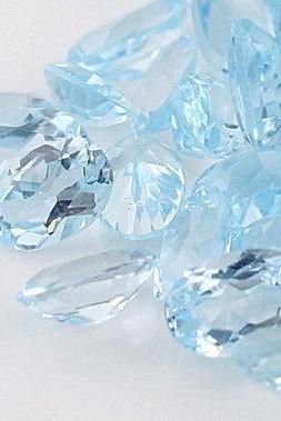 Natural Sky Blue Topaz 7x9mm 50 Pieces Lot Faceted Cut Oval Blue Color - Natural Loose Gemstone