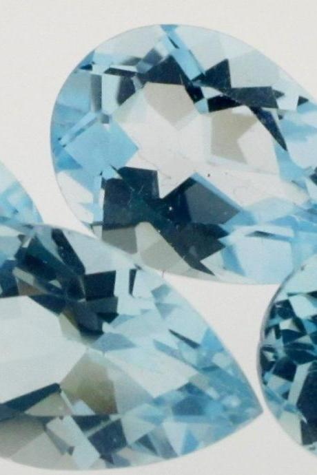 Natural Sky Blue Topaz 5x3mm 10 Pieces Lot Faceted Cut Pear Blue Color - Natural Loose Gemstone