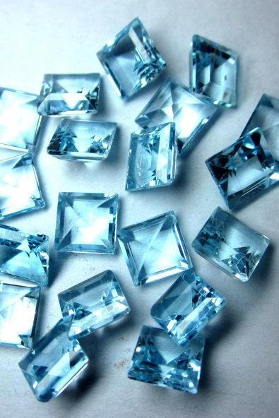 Natural Sky Blue Topaz 4mm 10 Pieces Lot Faceted Cut Square Blue Color - Natural Loose Gemstone