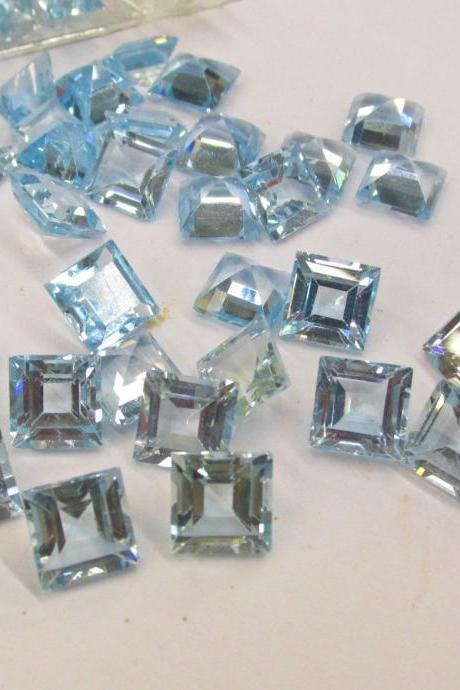 Natural Sky Blue Topaz 5mm 25 Pieces Lot Faceted Cut Square Blue Color - Natural Loose Gemstone