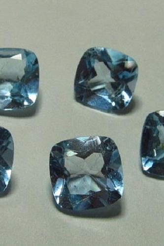 Natural Sky Blue Topaz 4mm 10 Pieces Lot Faceted Cut Cushion Blue Color - Natural Loose Gemstone
