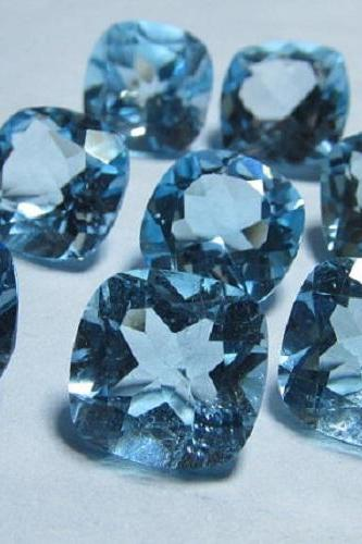 Natural Sky Blue Topaz 6mm 50 Pieces Lot Faceted Cut Cushion Blue Color - Natural Loose Gemstone
