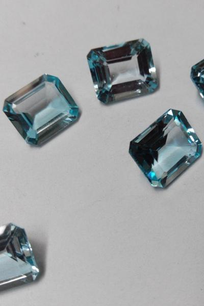 Natural Sky Blue Topaz 6x8mm 50 Pieces Lot Faceted Cut Octagon Blue Color - Natural Loose Gemstone