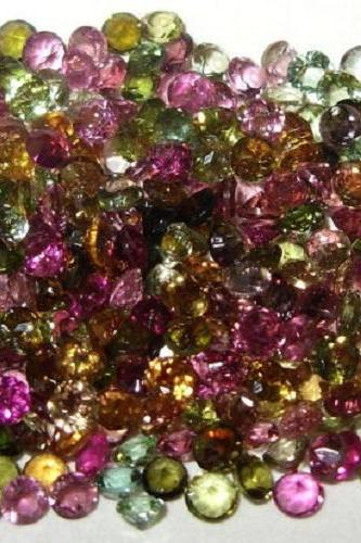 Natural Multi Tourmaline 4mm 5 Pieces Lot Faceted Cut Round Multi Color - Natural Loose Gemstone