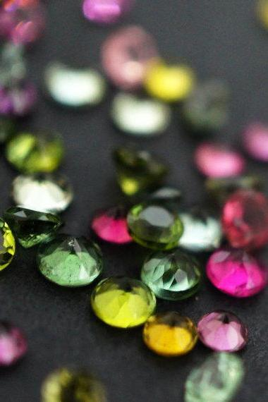 Natural Multi Tourmaline 4mm 100 Pieces Lot Faceted Cut Round Multi Color - Natural Loose Gemstone