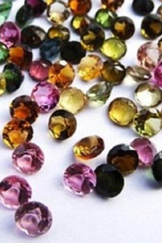 Natural Multi Tourmaline 5mm 5 Pieces Lot Faceted Cut Round Multi Color - Natural Loose Gemstone