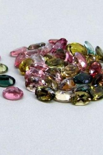 Natural Multi Tourmaline 5x3mm 50 Pieces Lot Faceted Cut Oval Multi Color - Natural Loose Gemstone