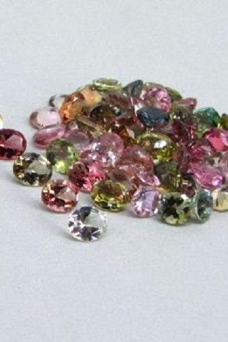 Natural Multi Tourmaline 5x4mm 50 Pieces Lot Faceted Cut Oval Multi Color - Natural Loose Gemstone