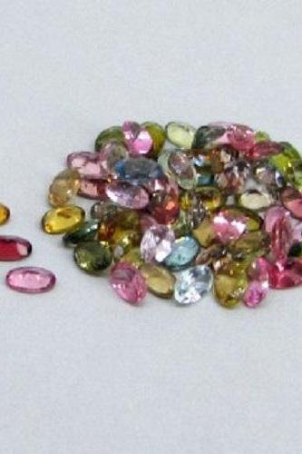 Natural Multi Tourmaline 6x4mm 10 Pieces Lot Faceted Cut Oval Multi Color - Natural Loose Gemstone