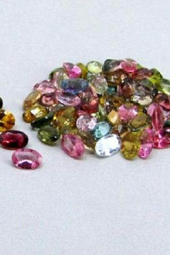 Natural Multi Tourmaline 6x4mm 25 Pieces Lot Faceted Cut Oval Multi Color - Natural Loose Gemstone