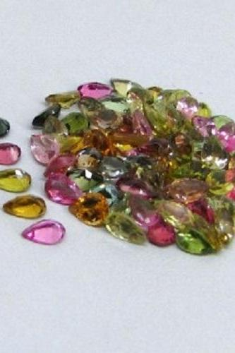 Natural Multi Tourmaline 5x3mm 25 Pieces Lot Faceted Cut Pear Multi Color - Natural Loose Gemstone