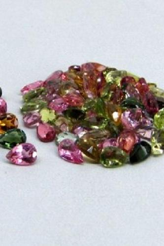 Natural Multi Tourmaline 5x4mm 5 Pieces Lot Faceted Cut Pear Multi Color - Natural Loose Gemstone