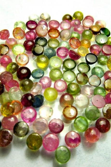 Natural Multi Tourmaline 4mm 50 Pieces Lot Cabochon Round Multi Color - Natural Loose Gemstone
