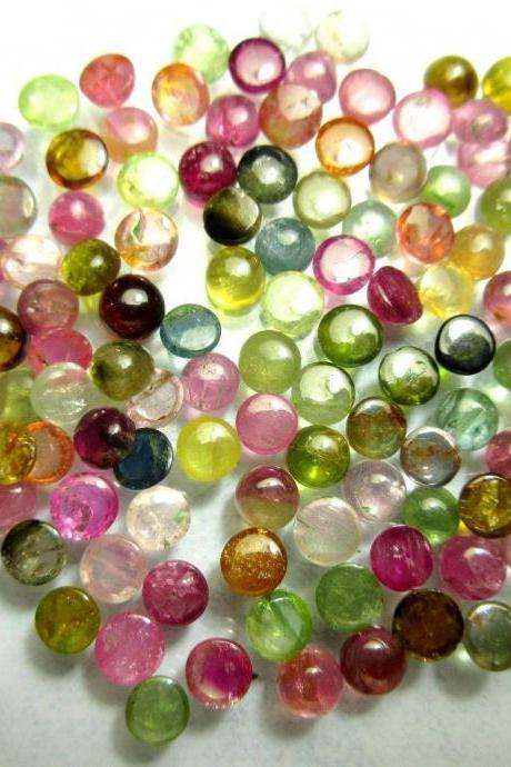 Natural Multi Tourmaline 4mm 100 Pieces Lot Cabochon Round Multi Color - Natural Loose Gemstone