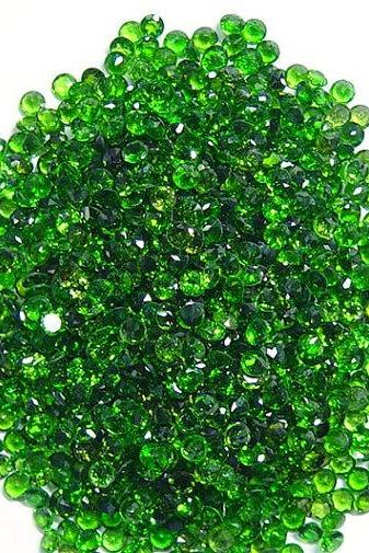 Natural Chrome Diopside 1.5mm 100 Pieces Lot Faceted Cut Round Green Color - Natural Loose Gemstone