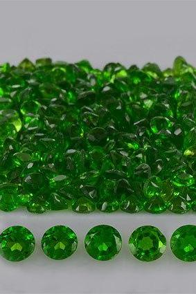 Natural Chrome Diopside 4mm 25 Pieces Lot Faceted Cut Round Green Color - Natural Loose Gemstone