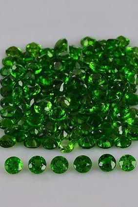 Natural Chrome Diopside 3mm 10 Pieces Lot Faceted Cut Round Green Color - Natural Loose Gemstone