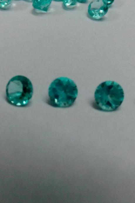 Natural Apatite 3mm 75 Pieces Lot Faceted Cut Round Greenish Blue Color - Natural Loose Gemstone