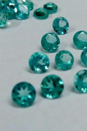 Natural Apatite 5mm 100 Pieces Lot Faceted Cut Round Greenish Blue Color - Natural Loose Gemstone