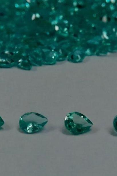 Natural Apatite 4x3mm 100 Pieces Lot Faceted Cut Pear Greenish Blue Color - Natural Loose Gemstone
