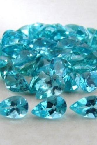 Natural Apatite 7x5mm 5 Pieces Lot Faceted Cut Pear Greenish Blue Color - Natural Loose Gemstone