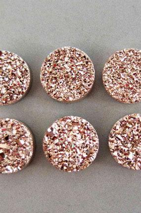 Natural 6mm,7mm,8mm 10 Pieces Rose Gold Color Coating Flat Druzy Round Best Top Rose Gold Color Gemstone Lot