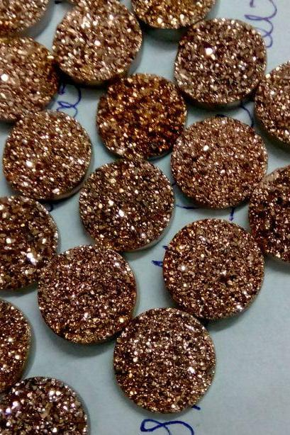 Natural 11mm,12mm 50 Pieces Rose Gold Color Coating Flat Druzy Round Best Top Rose Gold Color Gemstone Lot