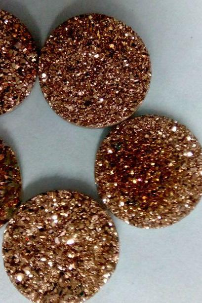 Natural 16mm 100 Pieces Rose Gold Color Coating Flat Druzy Round Best Top Rose Gold Color Gemstone Lot