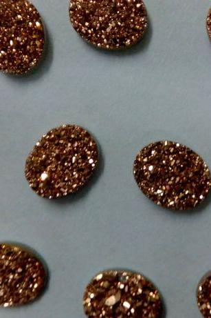 Natural 8x6mm,9x7mm,8x10mm 25 Pieces Rose Gold Color Coating Flat Druzy Oval Best Top Rose Gold Color Gemstone Lot