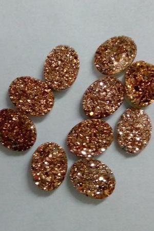 Natural 10x14mm 10 Pieces Rose Gold Color Coating Flat Druzy Oval Best Top Rose Gold Color Gemstone Lot