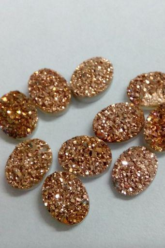Natural 15x20mm 100 Pieces Rose Gold Color Coating Flat Druzy Oval Best Top Rose Gold Color Gemstone Lot