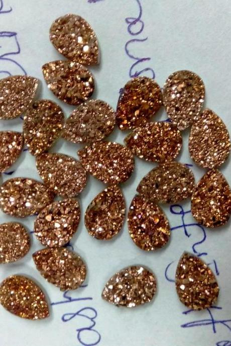 Natural 8x6mm,9x7mm,8x10mm 100 Pieces Rose Gold Color Coating Flat Druzy Pear Best Top Rose Gold Color Gemstone Lot