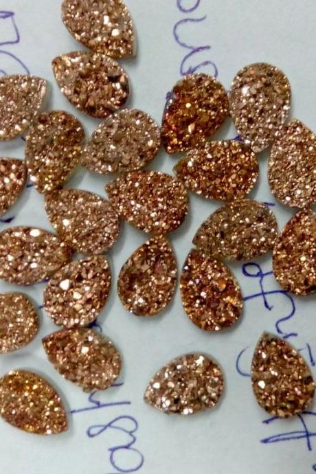 Natural 7x10mm 10 Pieces Rose Gold Color Coating Flat Druzy Pear Best Top Rose Gold Color Gemstone Lot