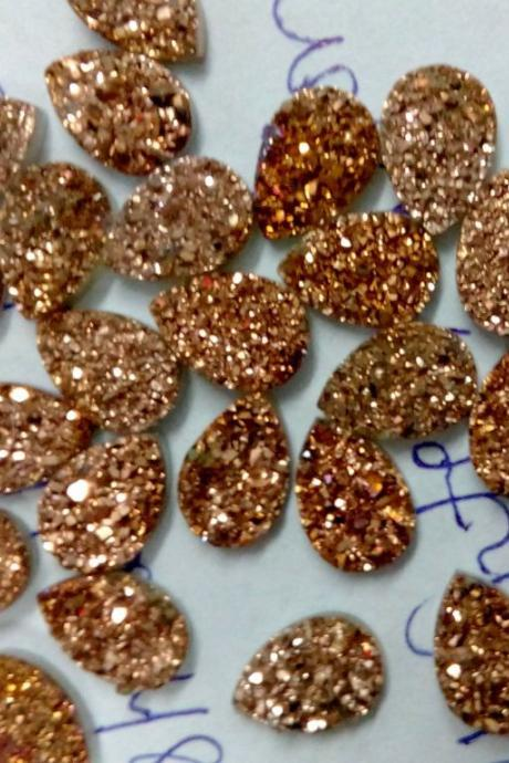 Natural 10x12mm 5 Pieces Rose Gold Color Coating Flat Druzy Pear Best Top Rose Gold Color Gemstone Lot