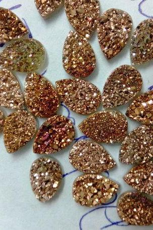 Natural 10x14mm 10 Pieces Rose Gold Color Coating Flat Druzy Pear Best Top Rose Gold Color Gemstone Lot
